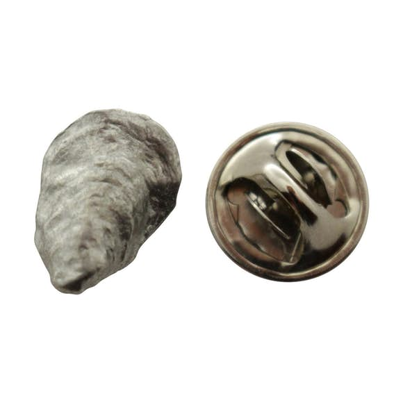 Oyster Mini Pin ~ Antiqued Pewter ~ Miniature Lapel Pin ~ Sarah's Treats & Treasures