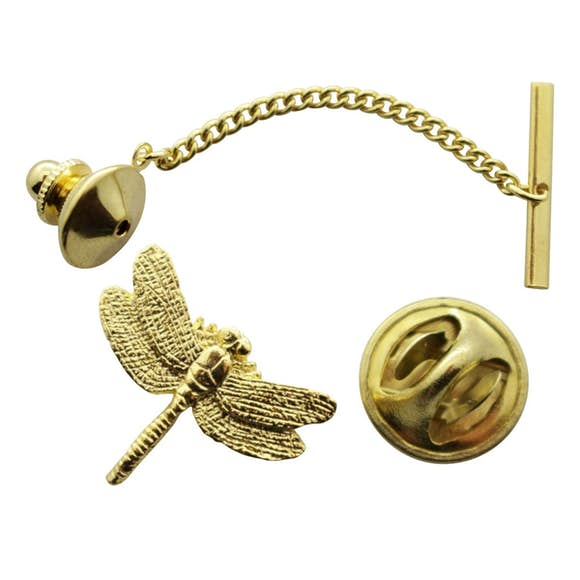 Dragonfly Tie Tack ~ 24K Gold ~ Tie Tack or Pin ~ Sarah's Treats & Treasures