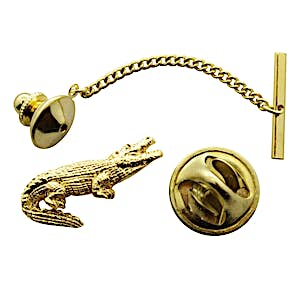 Alligator Tie Tack ~ 24K Gold ~ Tie Tack or Pin ~ Sarah's Treats & Treasures