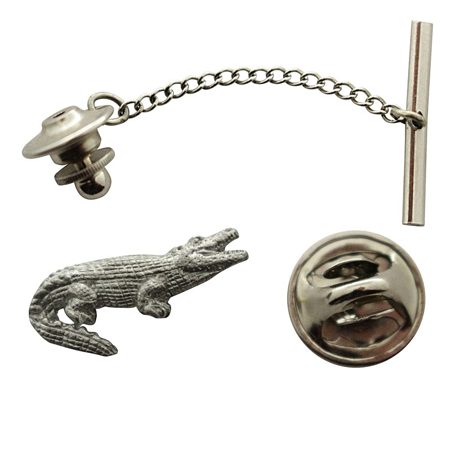 Alligator Tie Tack ~ Antiqued Pewter ~ Tie Tack or Pin ~ Sarah's Treats & Treasures