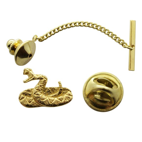 Rattlesnake Tie Tack ~ 24K Gold ~ Tie Tack or Pin ~ 24K Gold Tie Tack or Pin ~ Sarah's Treats & Treasures