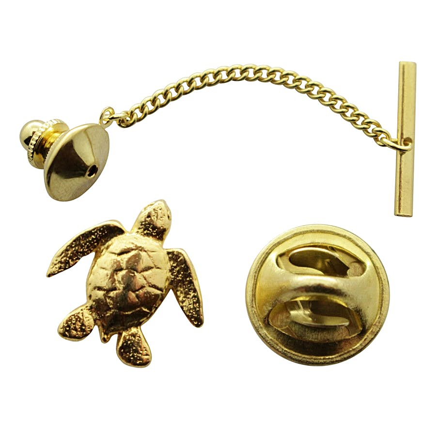 Sea Turtle Tie Tack ~ 24K Gold ~ Tie Tack or Pin ~ Sarah's Treats & Treasures
