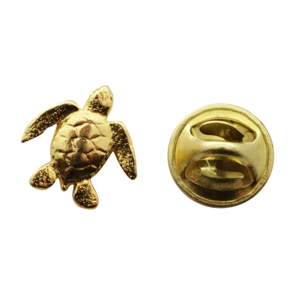 Sea Turtle Mini Pin ~ 24K Gold ~ Miniature Lapel Pin ~ Sarah's Treats & Treasures