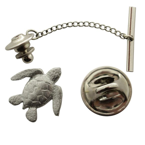 Sea Turtle Tie Tack ~ Antiqued Pewter ~ Tie Tack or Pin ~ Sarah's Treats & Treasures