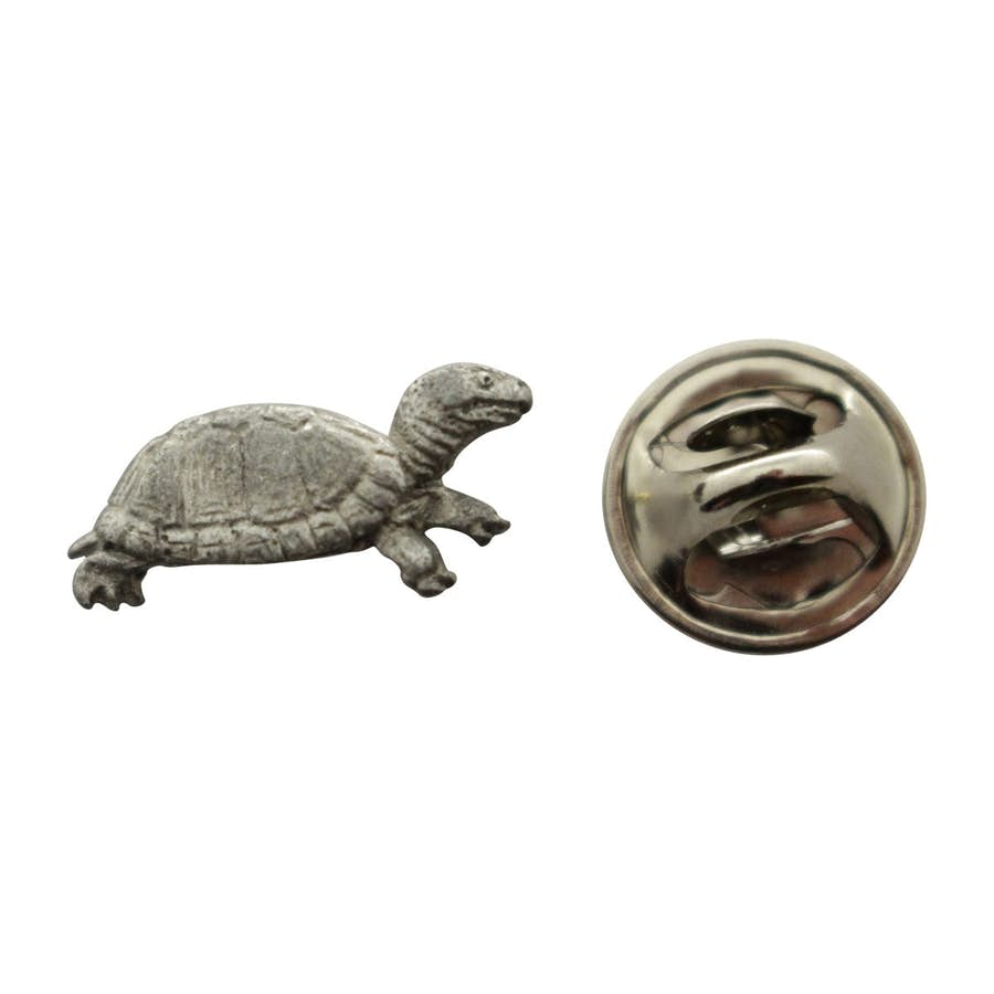 Box Turtle Mini Pin ~ Antiqued Pewter ~ Miniature Lapel Pin ~ Sarah's Treats & Treasures