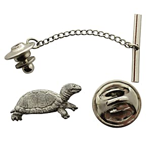 Box Turtle Tie Tack ~ Antiqued Pewter ~ Tie Tack or Pin ~ Sarah's Treats & Treasures