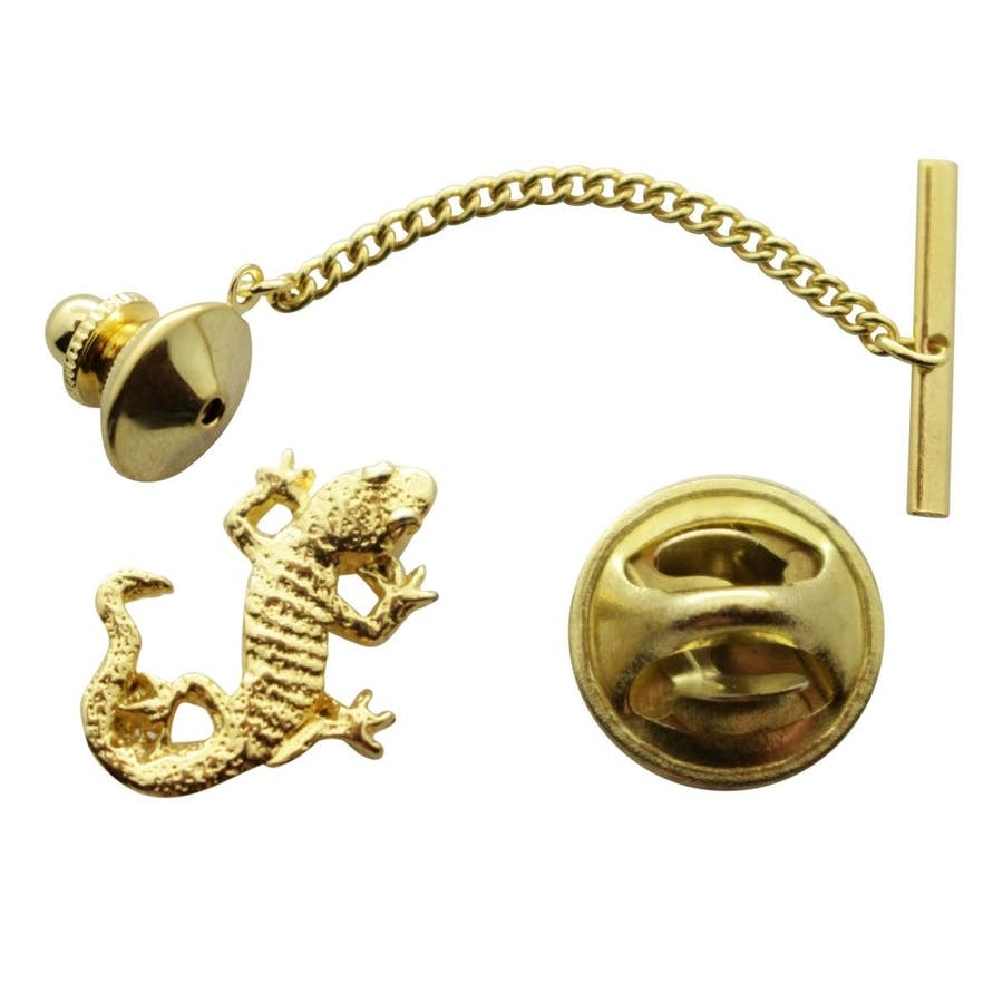 Gecko Tie Tack ~ 24K Gold ~ Tie Tack or Pin ~ 24K Gold Tie Tack or Pin ~ Sarah's Treats & Treasures