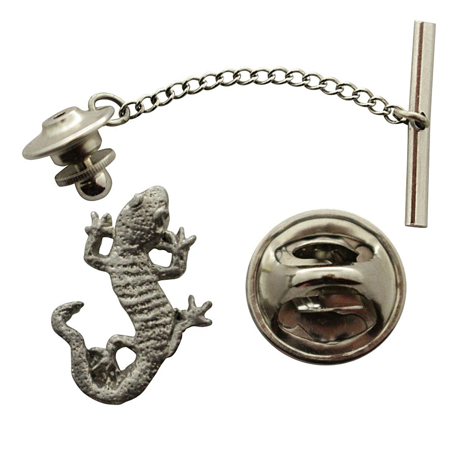 Gecko Tie Tack ~ Antiqued Pewter ~ Tie Tack or Pin ~ Sarah's Treats & Treasures