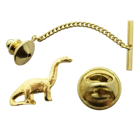 Brontosaurus Tie Tack ~ 24K Gold ~ Tie Tack or Pin ~ Sarah's Treats & Treasures