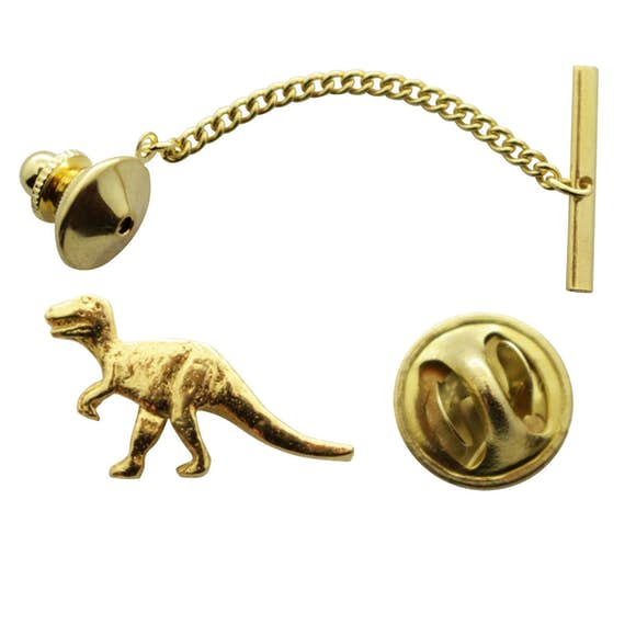 T Rex or Tyrannosaurus Tie Tack ~ 24K Gold ~ Tie Tack or Pin ~ Sarah's Treats & Treasures
