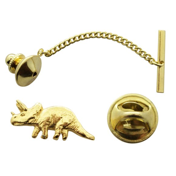 Triceratops Tie Tack ~ 24K Gold ~ Tie Tack or Pin ~ 24K Gold Tie Tack or Pin ~ Sarah's Treats & Treasures