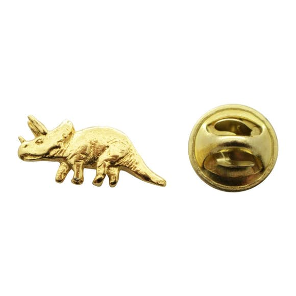 Triceratops Mini Pin ~ 24K Gold ~ Miniature Lapel Pin ~ 24K Gold Miniature Lapel Pin ~ Sarah's Treats & Treasures