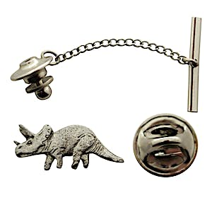 Triceratops Tie Tack ~ Antiqued Pewter ~ Tie Tack or Pin ~ Antiqued Pewter Tie Tack or Pin ~ Sarah's Treats & Treasures