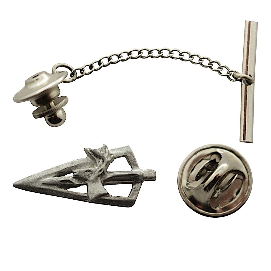 Broadhead With Deer Tie Tack ~ Antiqued Pewter ~ Tie Tack or Pin ~ Sarah's Treats & Treasures