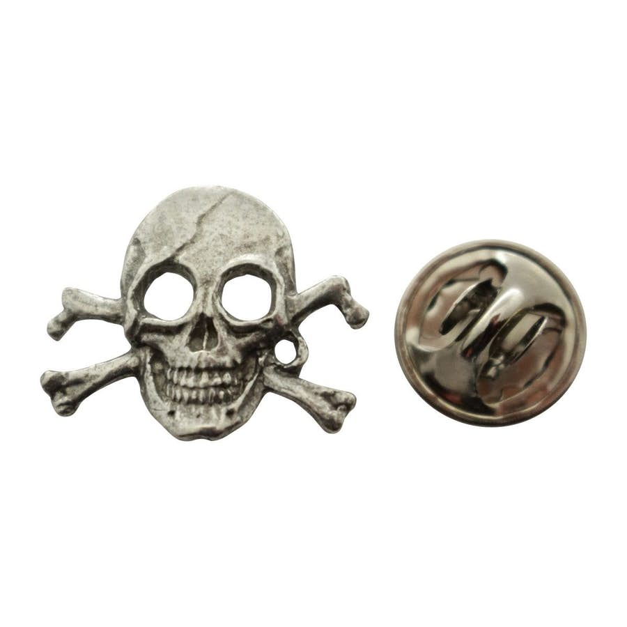 Pirate Skull Mini Pin ~ Antiqued Pewter ~ Miniature Lapel Pin ~ Sarah's Treats & Treasures