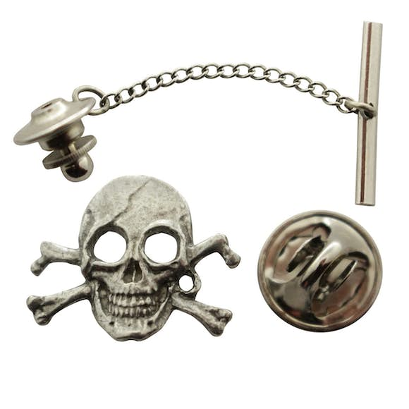 Pirate Skull Tie Tack ~ Antiqued Pewter ~ Tie Tack or Pin ~ Sarah's Treats & Treasures