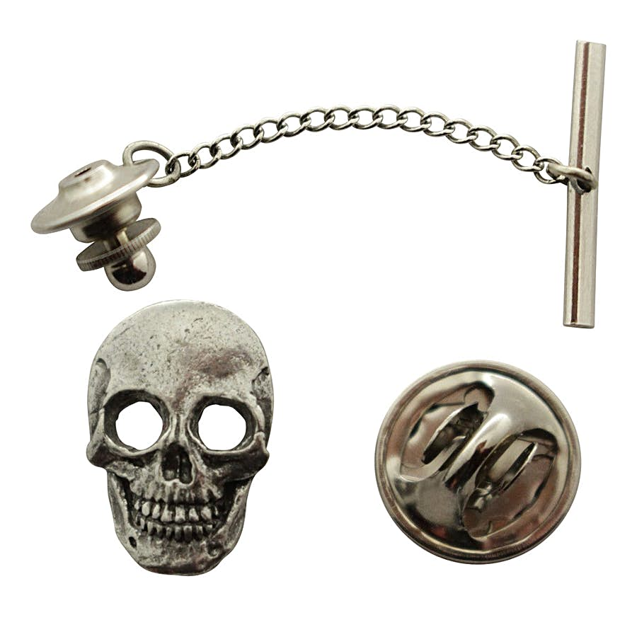 Skull Tie Tack ~ Antiqued Pewter ~ Tie Tack or Pin ~ Sarah's Treats & Treasures