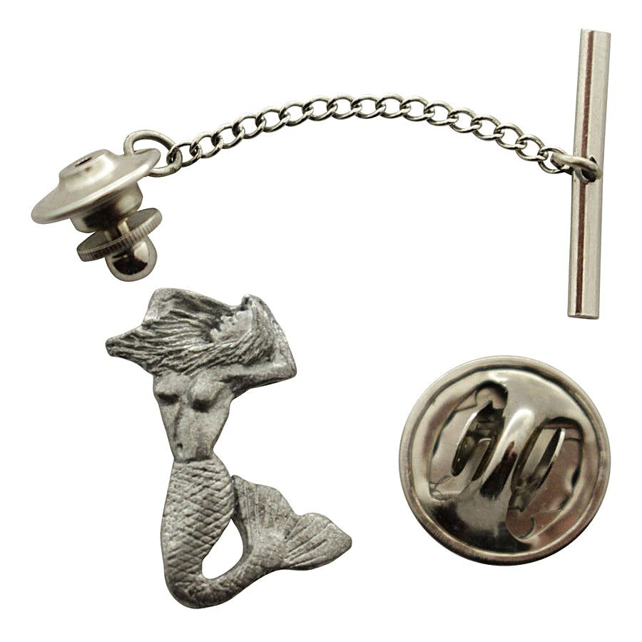 Mermaid Tie Tack ~ Antiqued Pewter ~ Tie Tack or Pin ~ Antiqued Pewter Tie Tack or Pin ~ Sarah's Treats & Treasures