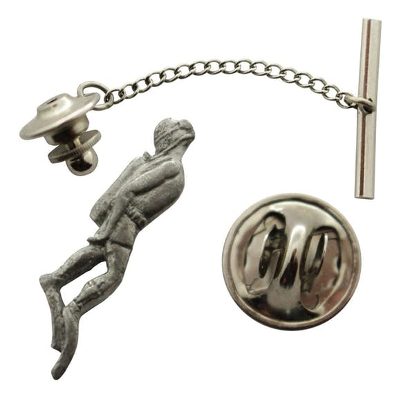 Diver Tie Tack ~ Antiqued Pewter ~ Tie Tack or Pin ~ Antiqued Pewter Tie Tack or Pin ~ Sarah's Treats & Treasures