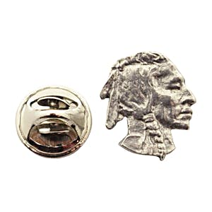 Native American Portrait Mini Pin ~ Antiqued Pewter ~ Miniature Lapel Pin ~ Sarah's Treats & Treasures