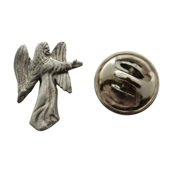 Angel Mini Pin ~ Antiqued Pewter ~ Miniature Lapel Pin ~ Sarah's Treats & Treasures