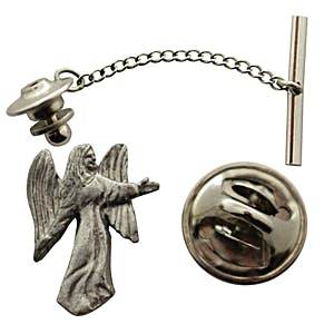 Angel Tie Tack ~ Antiqued Pewter ~ Tie Tack or Pin ~ Sarah's Treats & Treasures